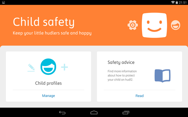 Tesco Hudl 2 Child Safety Feature