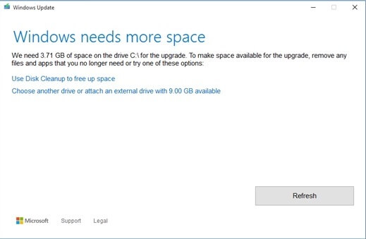 Windows 10 Issues Space Required