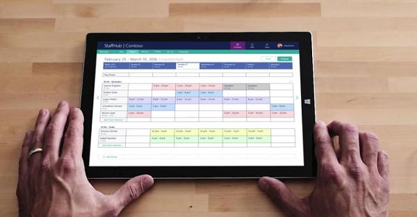 Microsoft StaffHub app on tablet