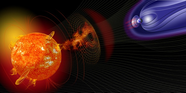 Solar storm with Earth's magnetic field