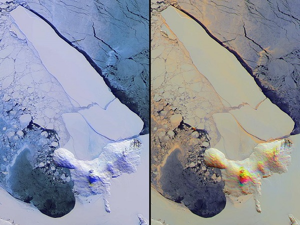 one million tons iceberg satellite view