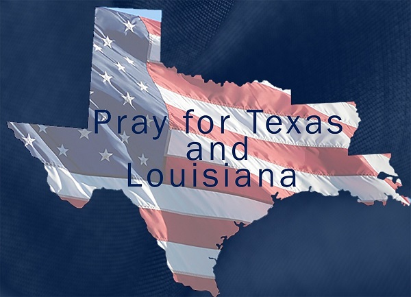 pray for Texas and Louisiana sign