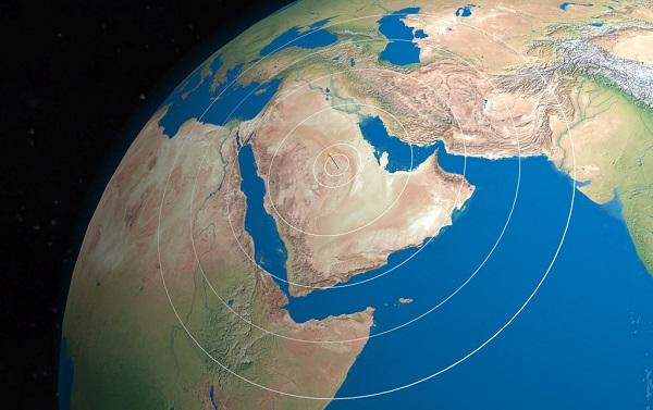 Satellite view of Saudi Arabia