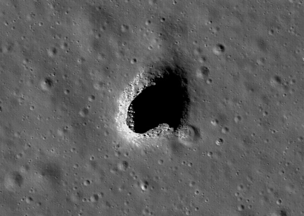 Cavern on the surface of the Moon