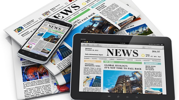 News in a newspaper, on a mobile app, and on a tablet