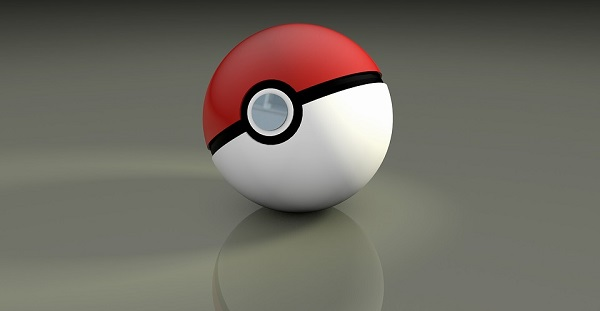 Digital Pokeball on a grey surface