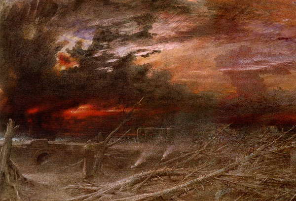 Artist's depiction of a nuclear attack aftermath