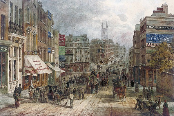 Snow Hill, Holburn, London in Victorian Britain.