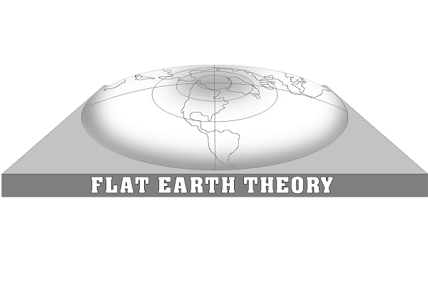 flat earth theory written beneath a flat globe