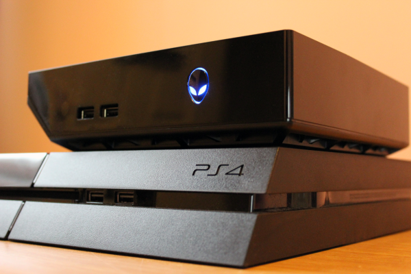 Alienware Alpha on top of a PS4
