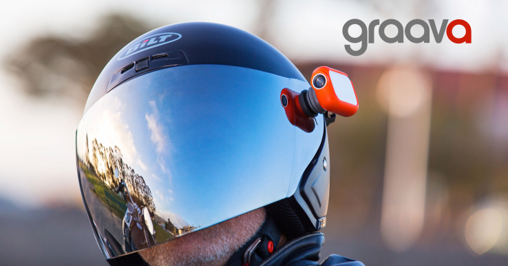 The Graava Action Cam can be latched onto a helmet
