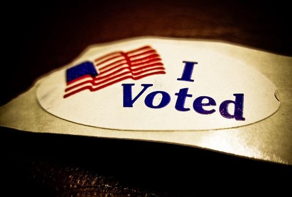 i voted sticker on dark background