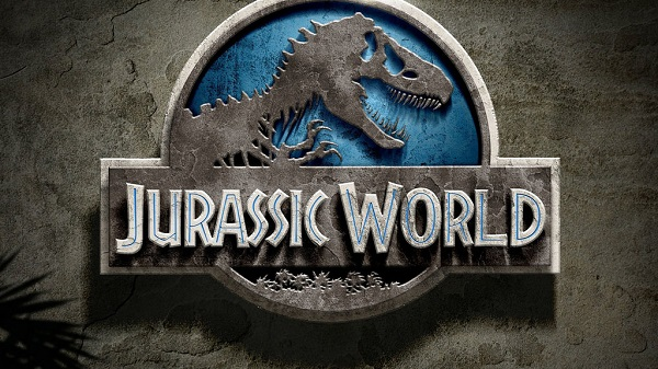 Jurassic World logo on a dusty brown background