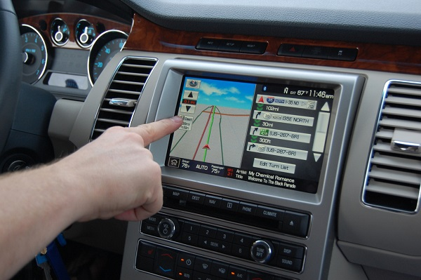 Touchscreen menu in a car