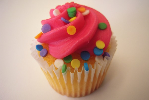 Cupcake with pink frosting on top