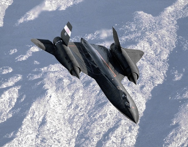 The SR-71 spy jet mid-air